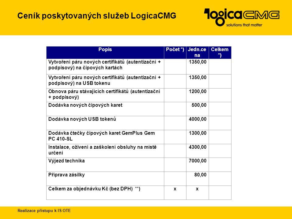 Ceník poskytovaných služeb LogicaCMG