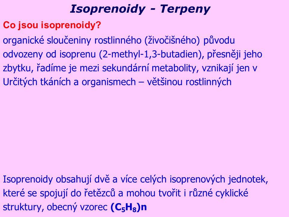 Isoprenoidy - Terpeny Co jsou isoprenoidy