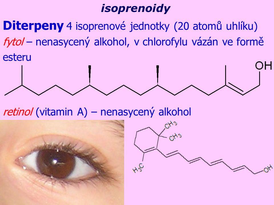 Diterpeny 4 isoprenové jednotky (20 atomů uhlíku)