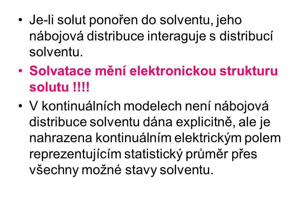 Solvatace mění elektronickou strukturu solutu !!!!