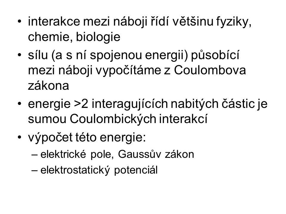 interakce mezi náboji řídí většinu fyziky, chemie, biologie