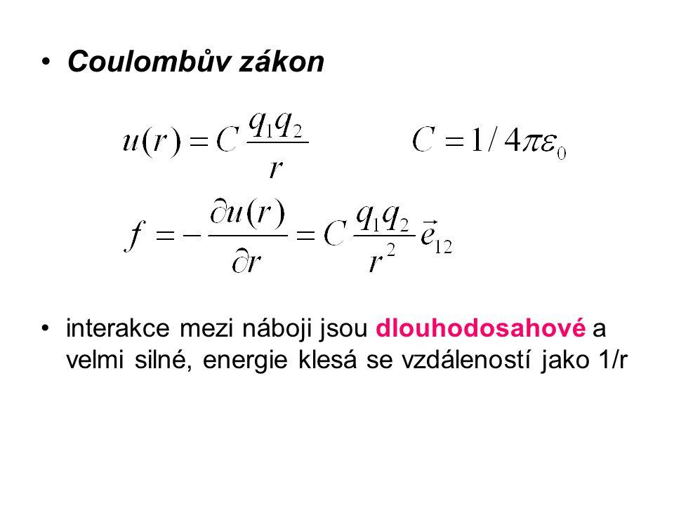 Coulombův zákon interakce mezi náboji jsou dlouhodosahové a velmi silné, energie klesá se vzdáleností jako 1/r.