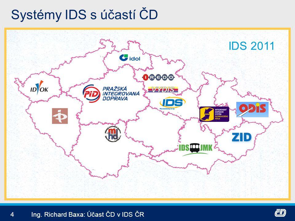 Systémy IDS s účastí ČD IDS 2011 Ing. Richard Baxa: Účast ČD v IDS ČR