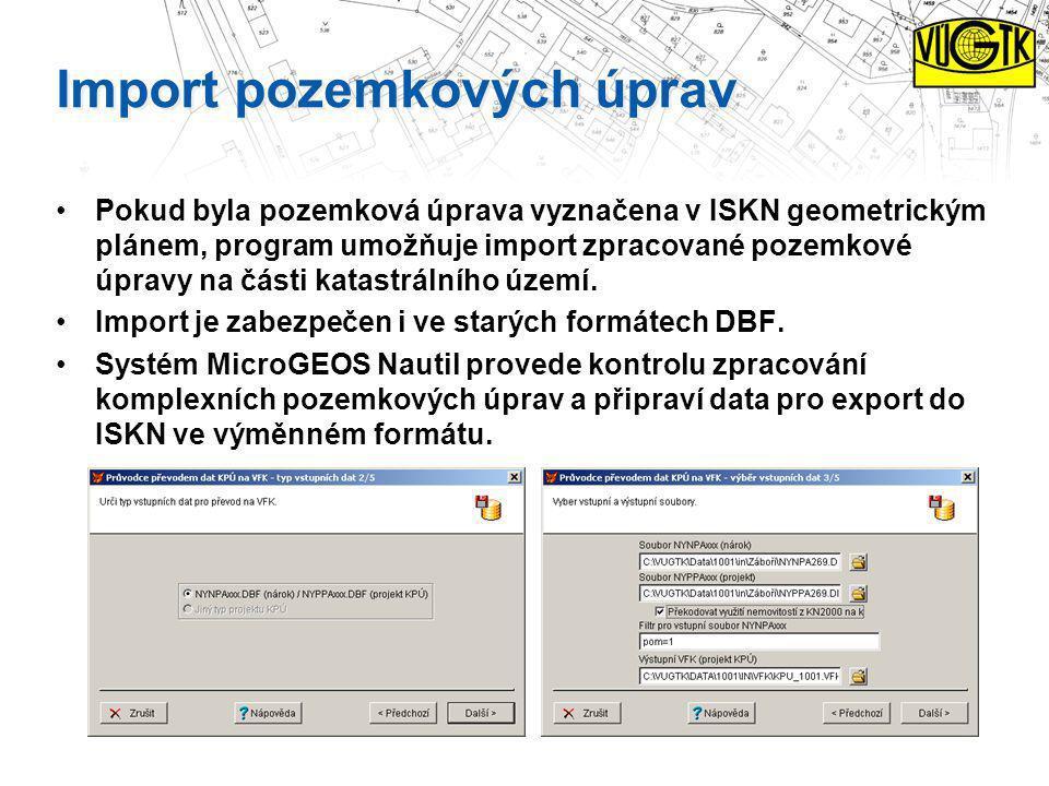 Import pozemkových úprav