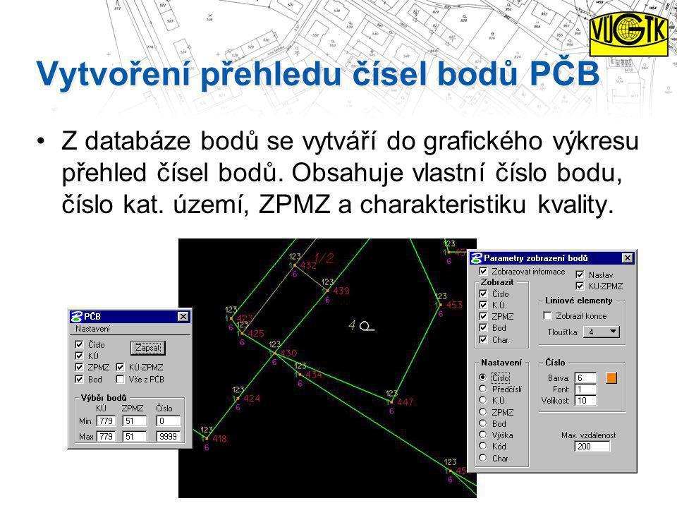 Vytvoření přehledu čísel bodů PČB