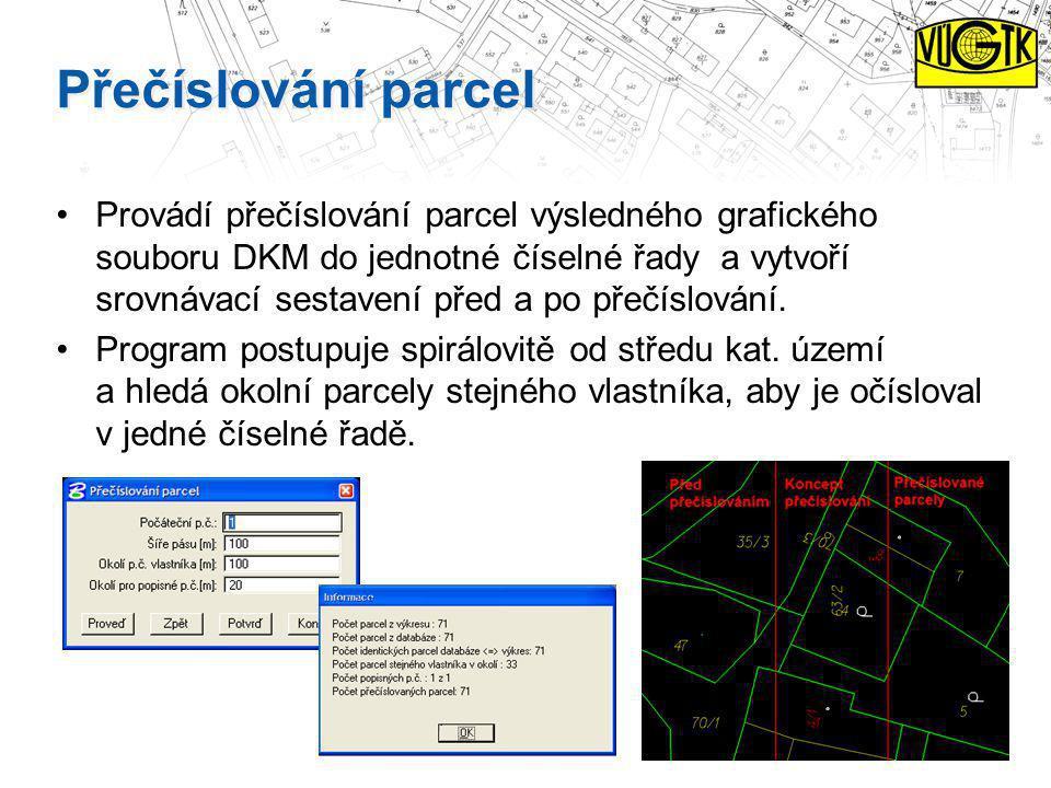 Přečíslování parcel