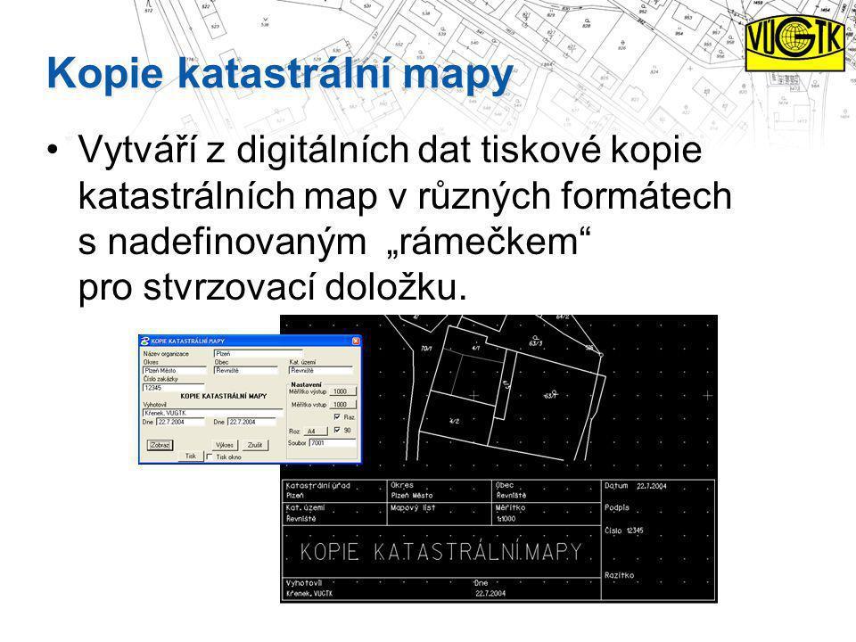 Kopie katastrální mapy