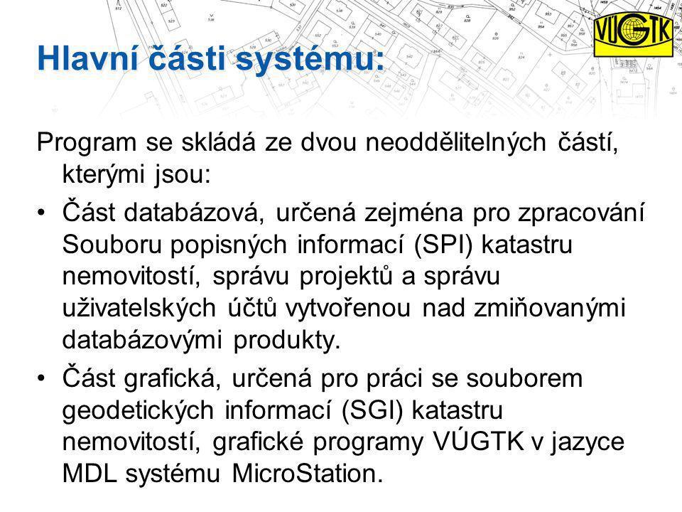 Hlavní části systému: Program se skládá ze dvou neoddělitelných částí, kterými jsou: