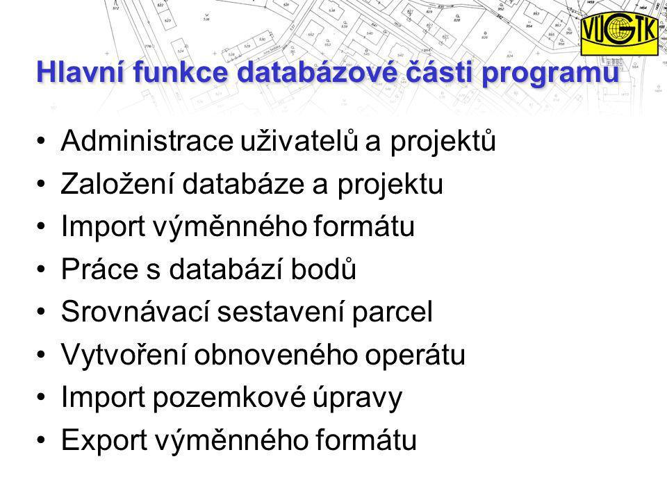 Hlavní funkce databázové části programu