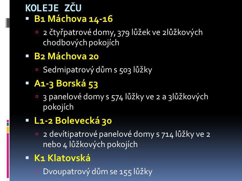 KOLEJE ZČU B1 Máchova 14-16 B2 Máchova 20 A1-3 Borská 53
