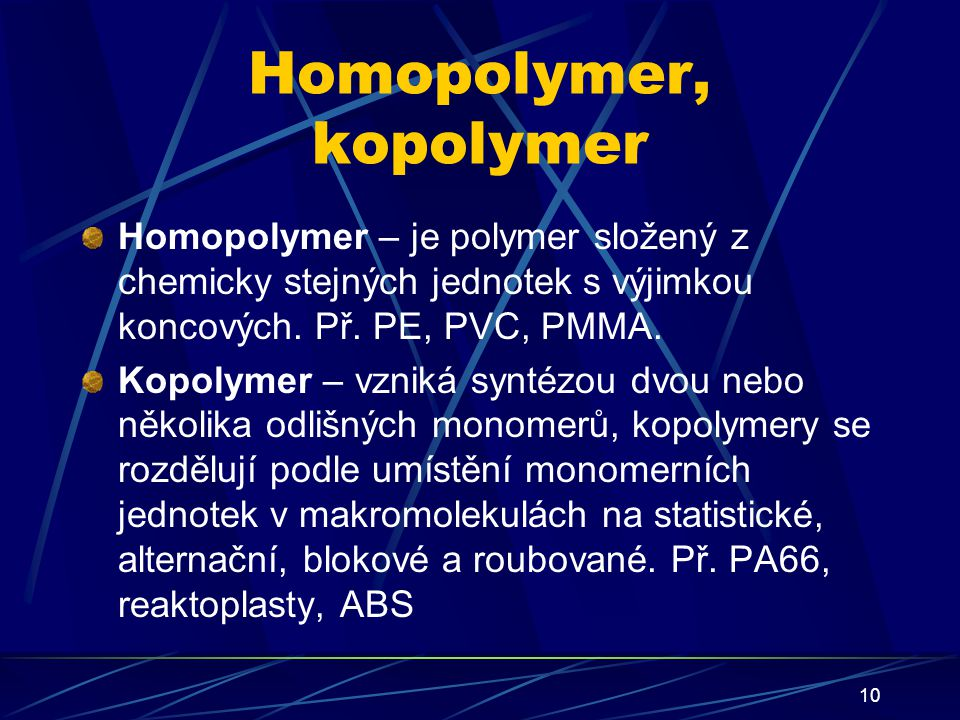Homopolymer, kopolymer