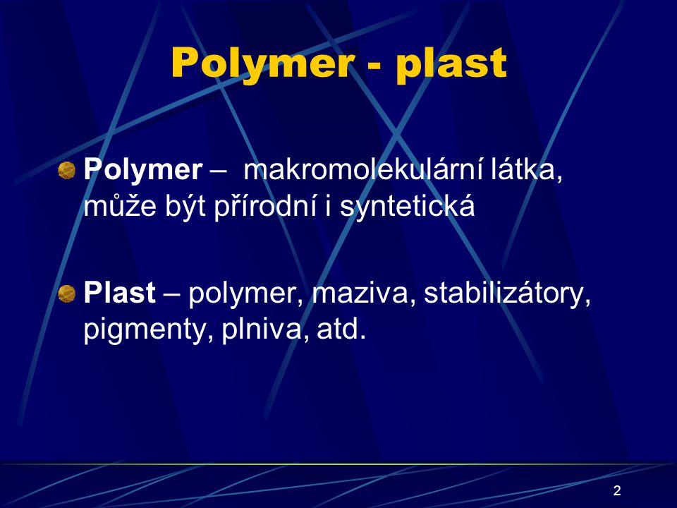 Polymer - plast Polymer – makromolekulární látka, může být přírodní i syntetická.