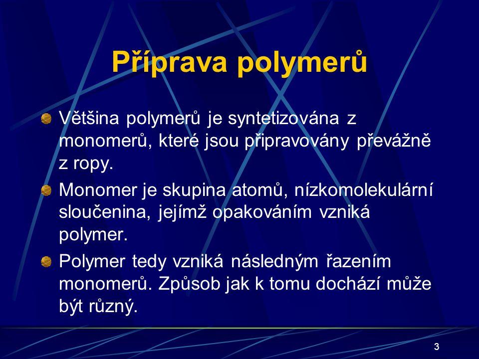 Příprava polymerů Většina polymerů je syntetizována z monomerů, které jsou připravovány převážně z ropy.
