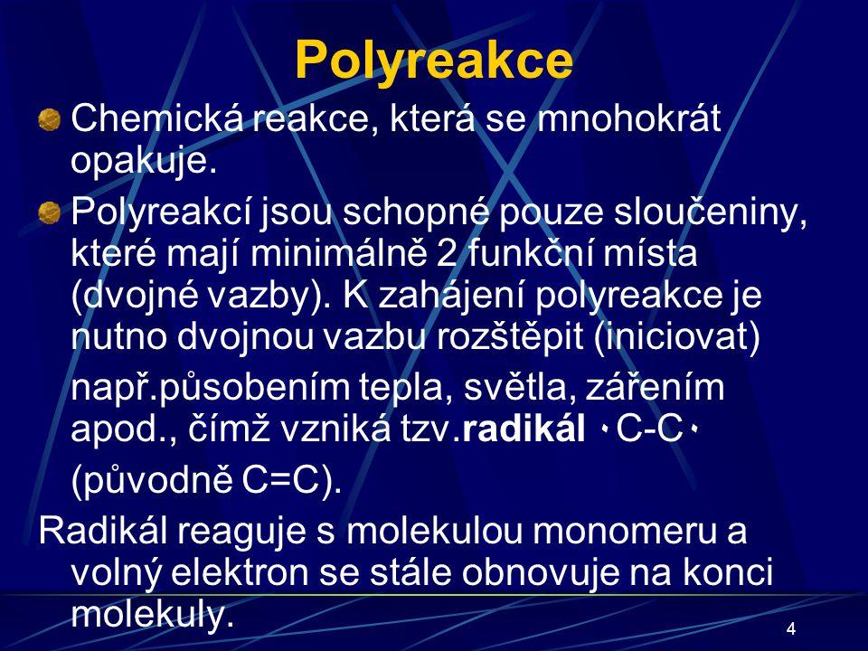 Polyreakce Chemická reakce, která se mnohokrát opakuje.