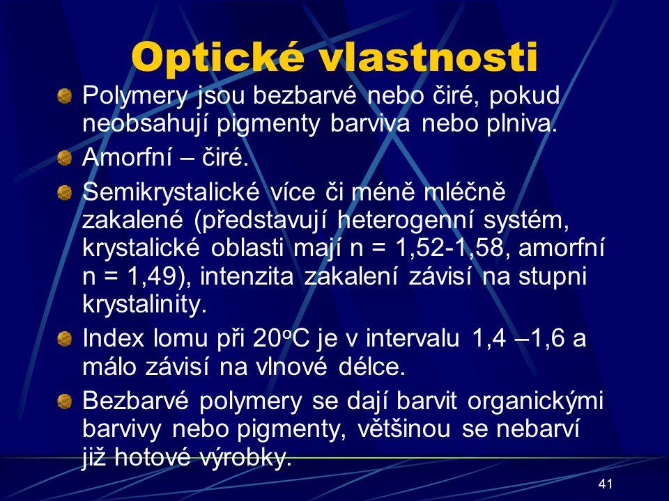 Optické vlastnosti Polymery jsou bezbarvé nebo čiré, pokud neobsahují pigmenty barviva nebo plniva.