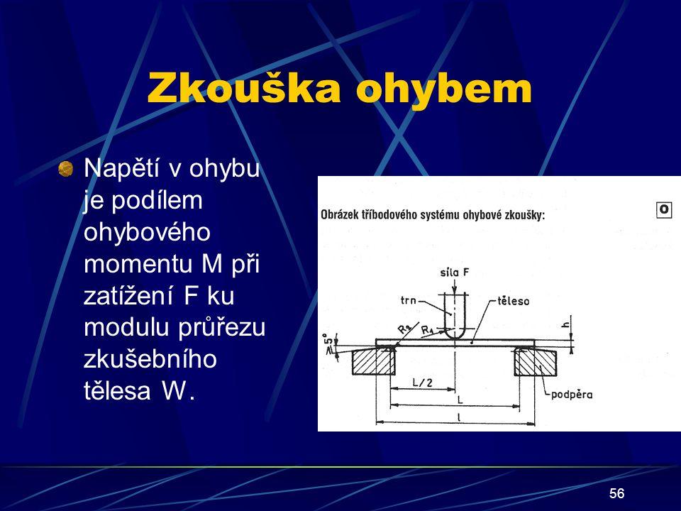 Zkouška ohybem Napětí v ohybu je podílem ohybového momentu M při zatížení F ku modulu průřezu zkušebního tělesa W.
