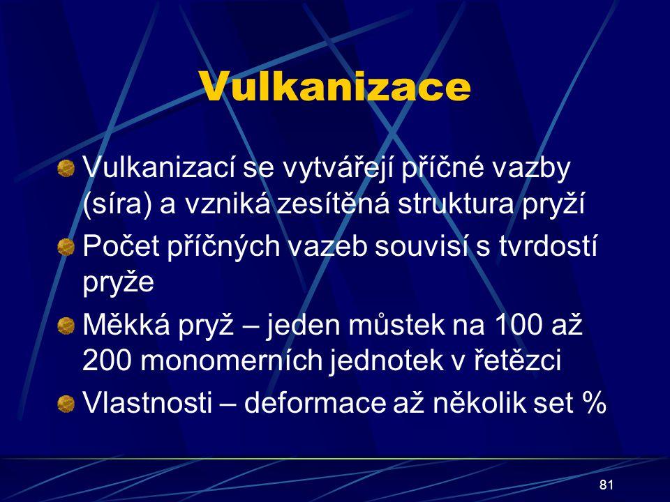 Vulkanizace Vulkanizací se vytvářejí příčné vazby (síra) a vzniká zesítěná struktura pryží. Počet příčných vazeb souvisí s tvrdostí pryže.