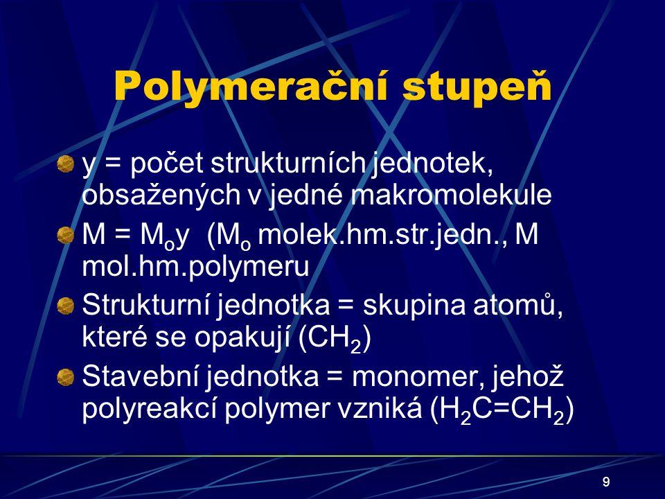 Polymerační stupeň y = počet strukturních jednotek, obsažených v jedné makromolekule. M = Moy (Mo molek.hm.str.jedn., M mol.hm.polymeru.