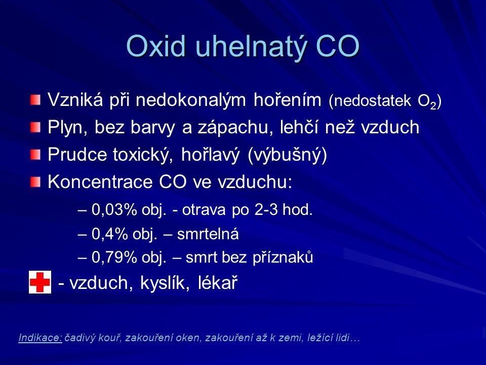 Oxid uhelnatý CO Vzniká při nedokonalým hořením (nedostatek O2)