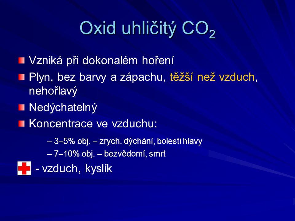 Oxid uhličitý CO2 Vzniká při dokonalém hoření