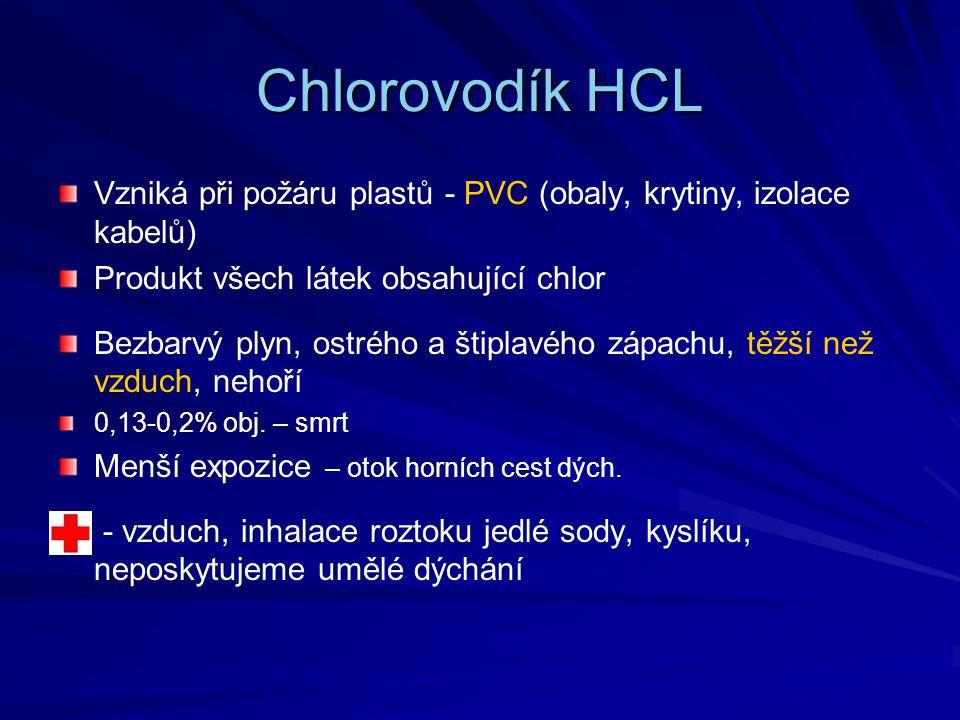 Chlorovodík HCL Vzniká při požáru plastů - PVC (obaly, krytiny, izolace kabelů) Produkt všech látek obsahující chlor.