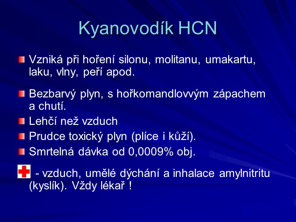 Kyanovodík HCN Vzniká při hoření silonu, molitanu, umakartu, laku, vlny, peří apod. Bezbarvý plyn, s hořkomandlovvým zápachem a chutí.
