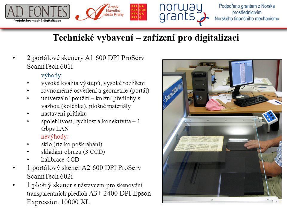 Technické vybavení – zařízení pro digitalizaci