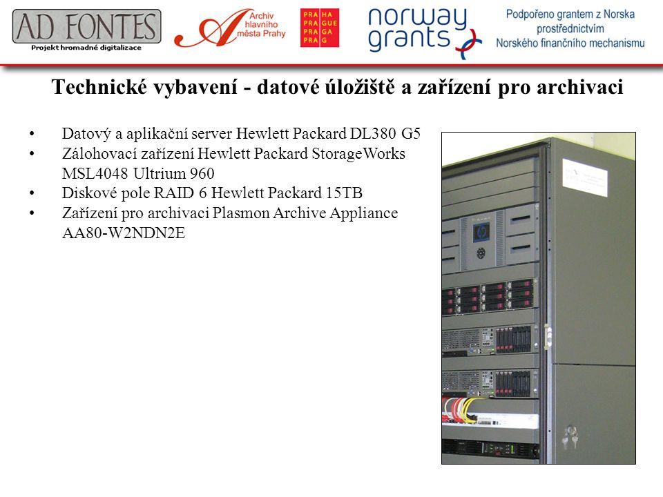 Technické vybavení - datové úložiště a zařízení pro archivaci