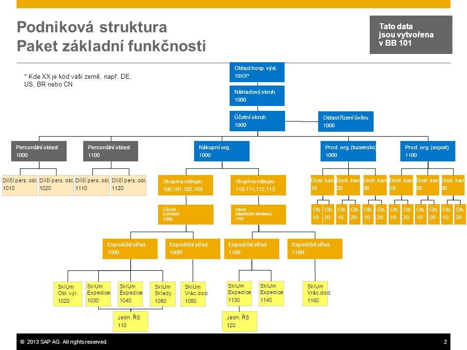 Podniková struktura Paket základní funkčnosti