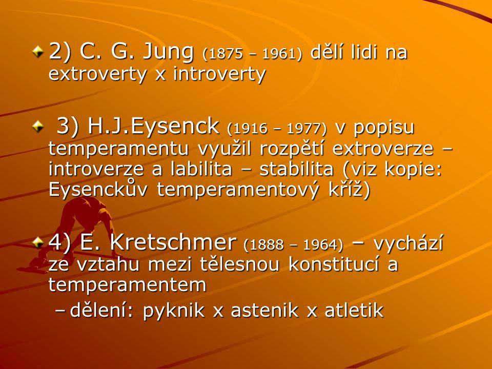 2) C. G. Jung (1875 – 1961) dělí lidi na extroverty x introverty