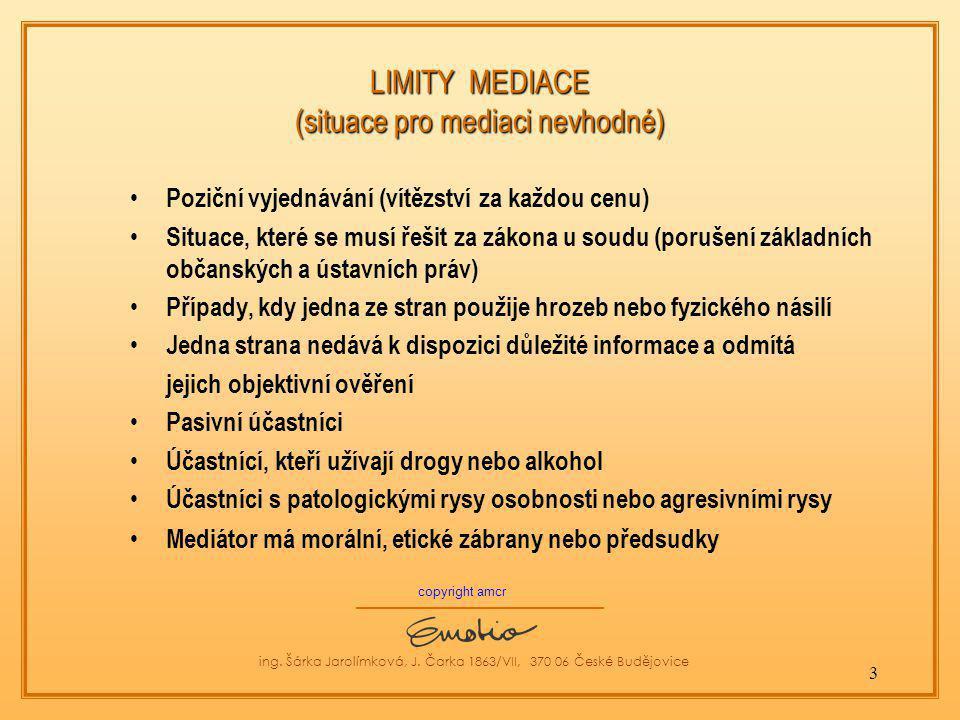 LIMITY MEDIACE (situace pro mediaci nevhodné)