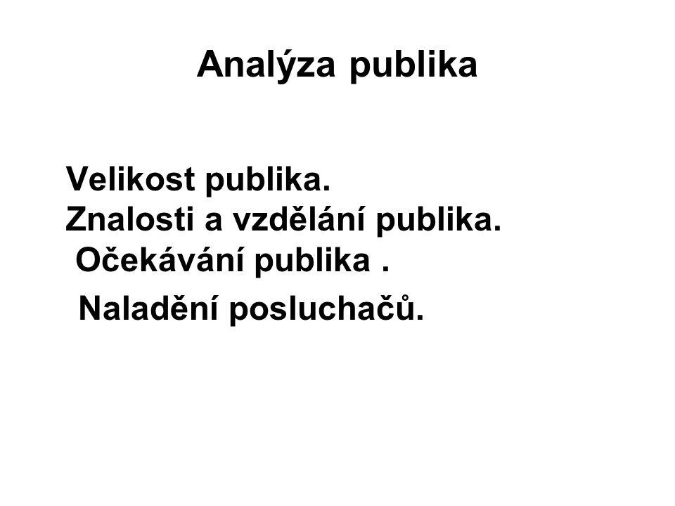 Analýza publika Naladění posluchačů.