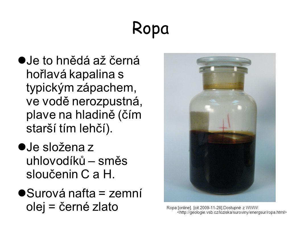 Ropa Je to hnědá až černá hořlavá kapalina s typickým zápachem, ve vodě nerozpustná, plave na hladině (čím starší tím lehčí).