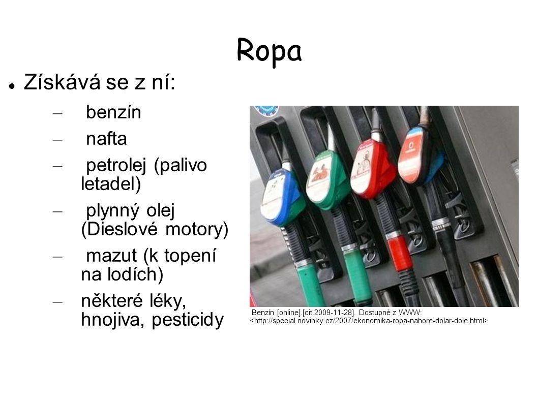 Ropa Získává se z ní: benzín nafta petrolej (palivo letadel)