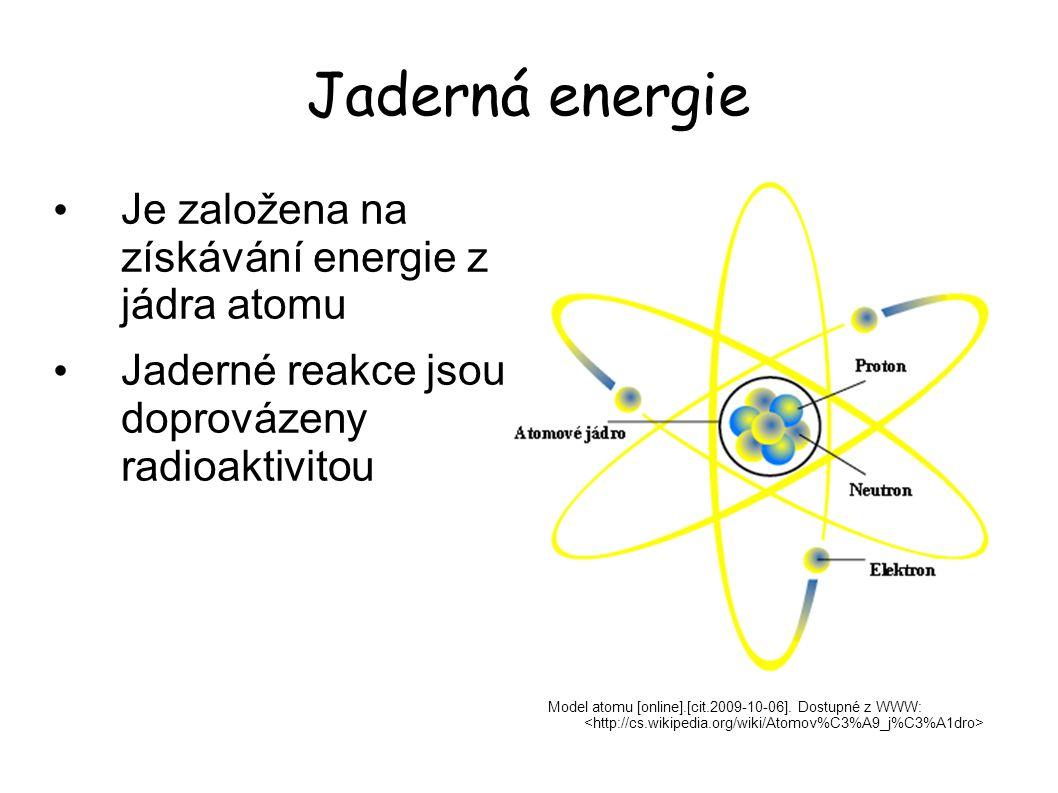 Jaderná energie Je založena na získávání energie z jádra atomu