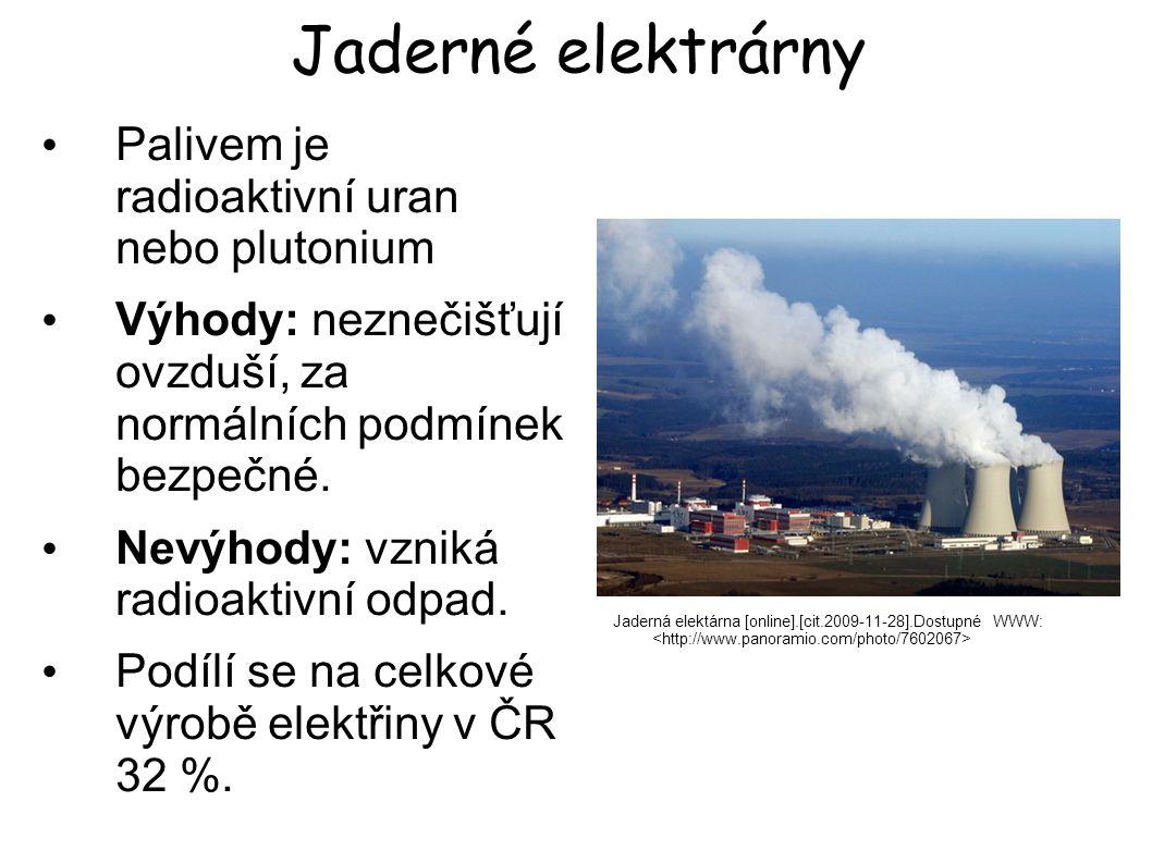 Jaderné elektrárny Palivem je radioaktivní uran nebo plutonium
