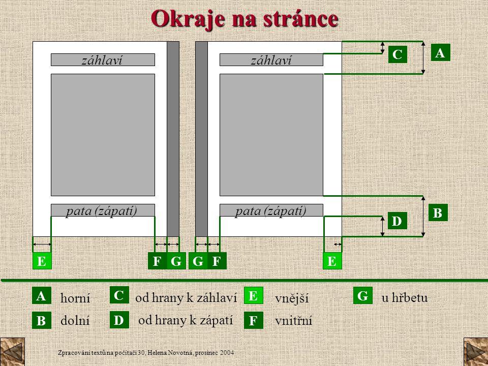 Okraje na stránce C A záhlaví pata (zápatí) záhlaví pata (zápatí) B D