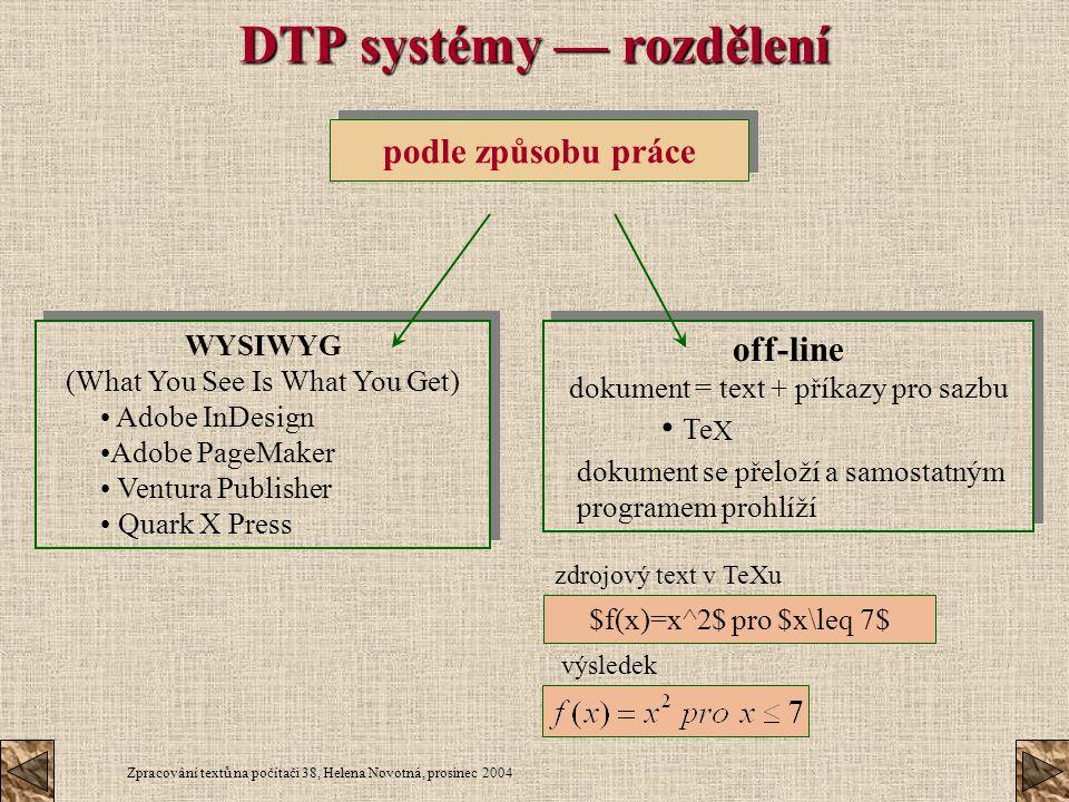 DTP systémy — rozdělení