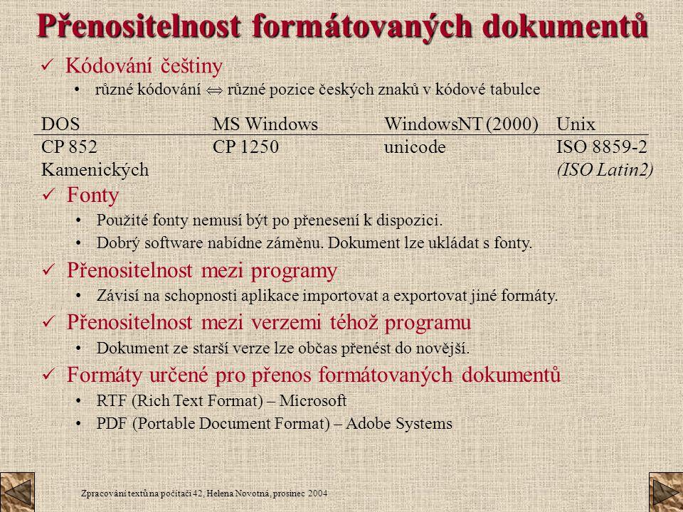 Přenositelnost formátovaných dokumentů