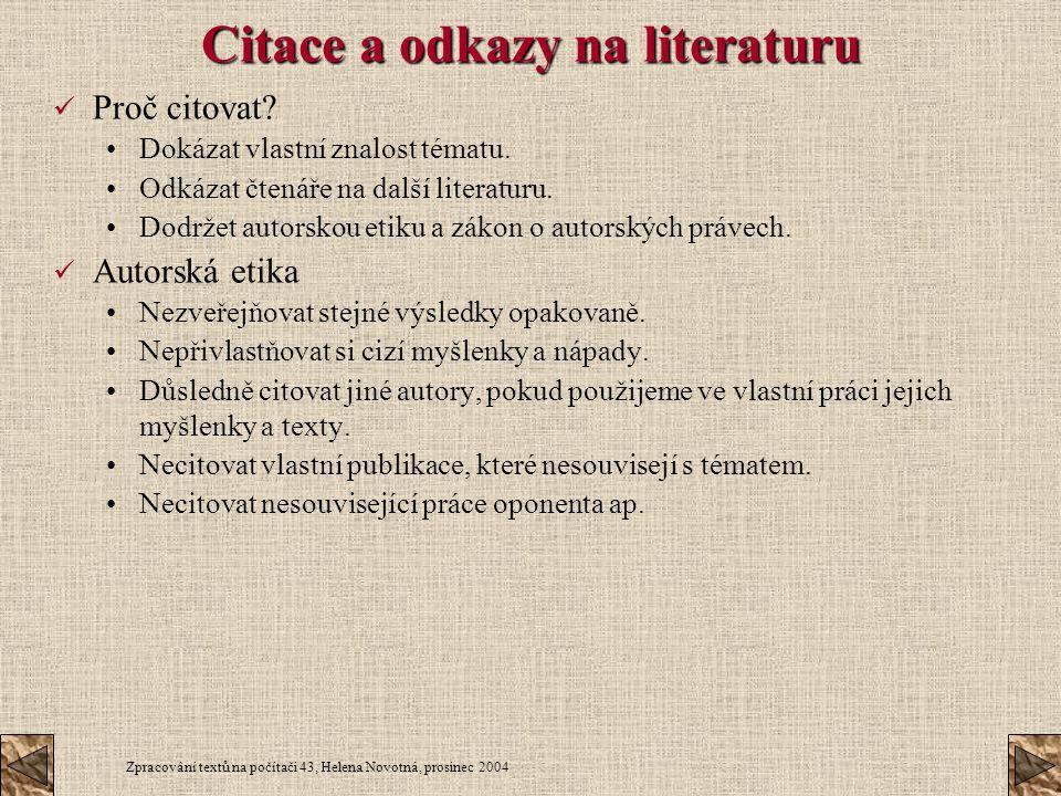 Citace a odkazy na literaturu