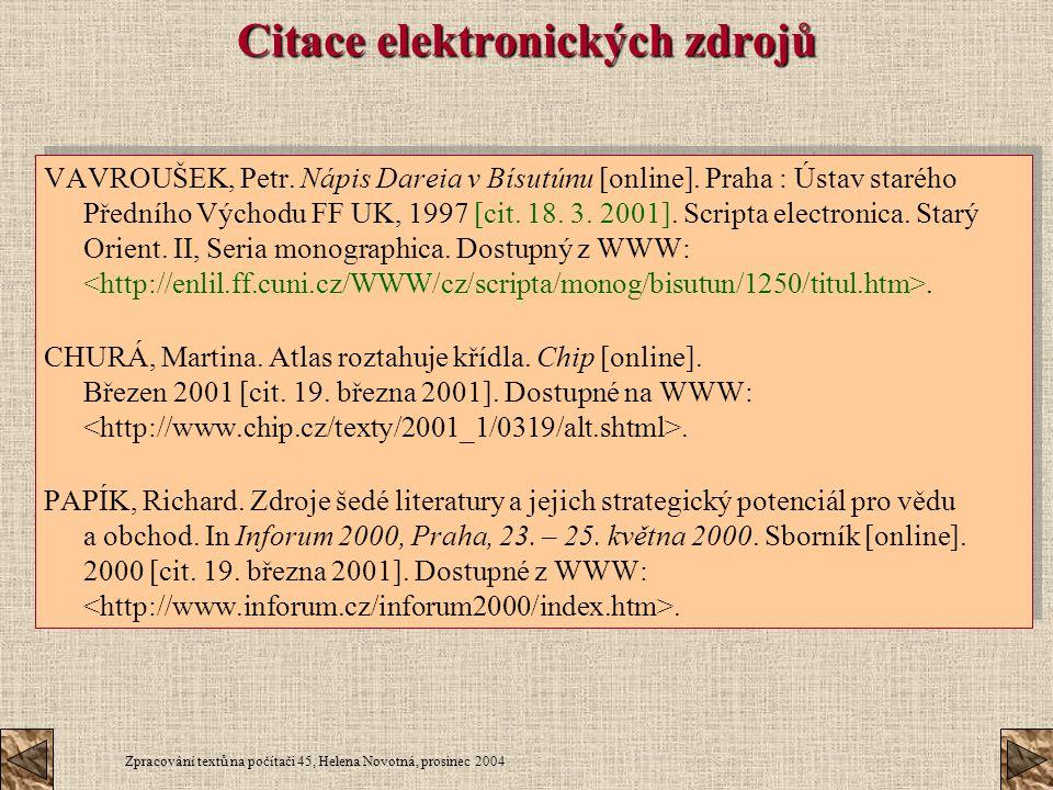 Citace elektronických zdrojů