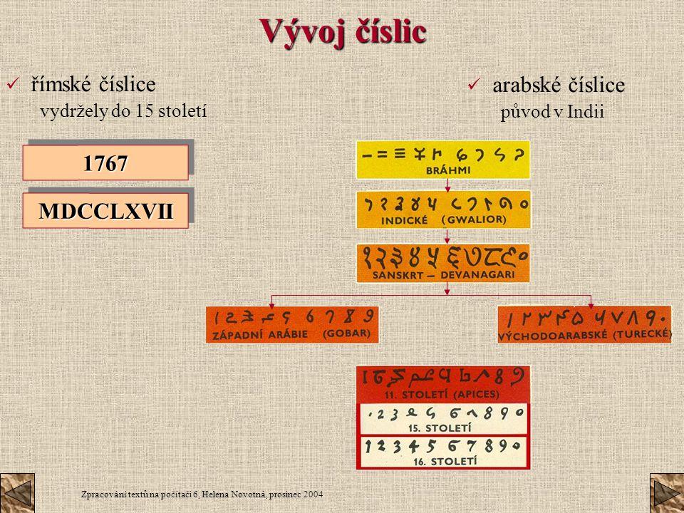 Vývoj číslic římské číslice arabské číslice 1767 MDCCLXVII