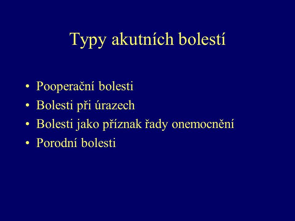 Typy akutních bolestí Pooperační bolesti Bolesti při úrazech