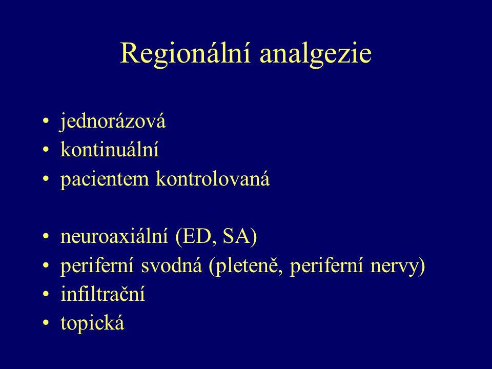 Regionální analgezie jednorázová kontinuální pacientem kontrolovaná