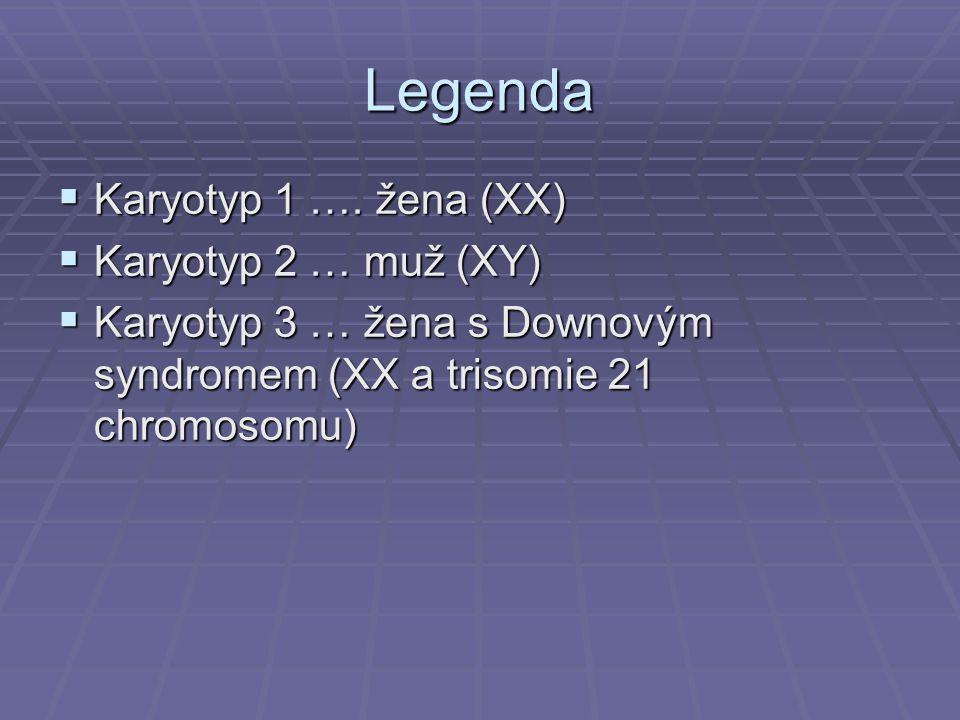 Legenda Karyotyp 1 …. žena (XX) Karyotyp 2 … muž (XY)