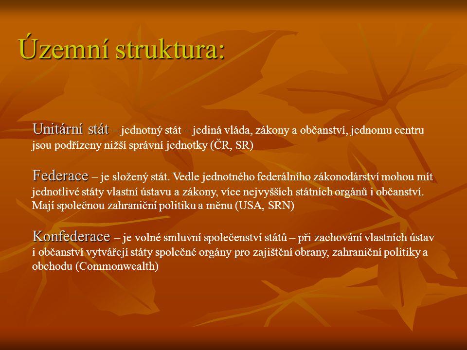 Územní struktura: Unitární stát – jednotný stát – jediná vláda, zákony a občanství, jednomu centru jsou podřízeny nižší správní jednotky (ČR, SR)