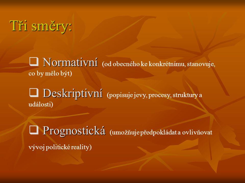 Tři směry: Normativní (od obecného ke konkrétnímu, stanovuje, co by mělo být) Deskriptivní (popisuje jevy, procesy, struktury a události)