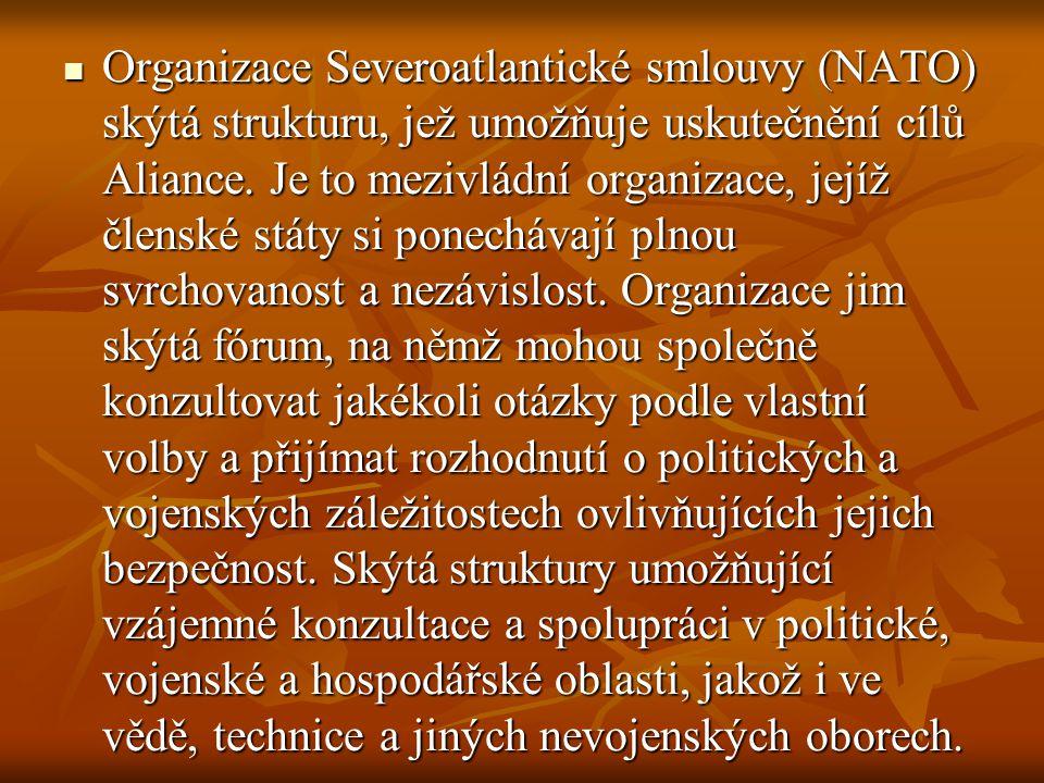 Organizace Severoatlantické smlouvy (NATO) skýtá strukturu, jež umožňuje uskutečnění cílů Aliance.