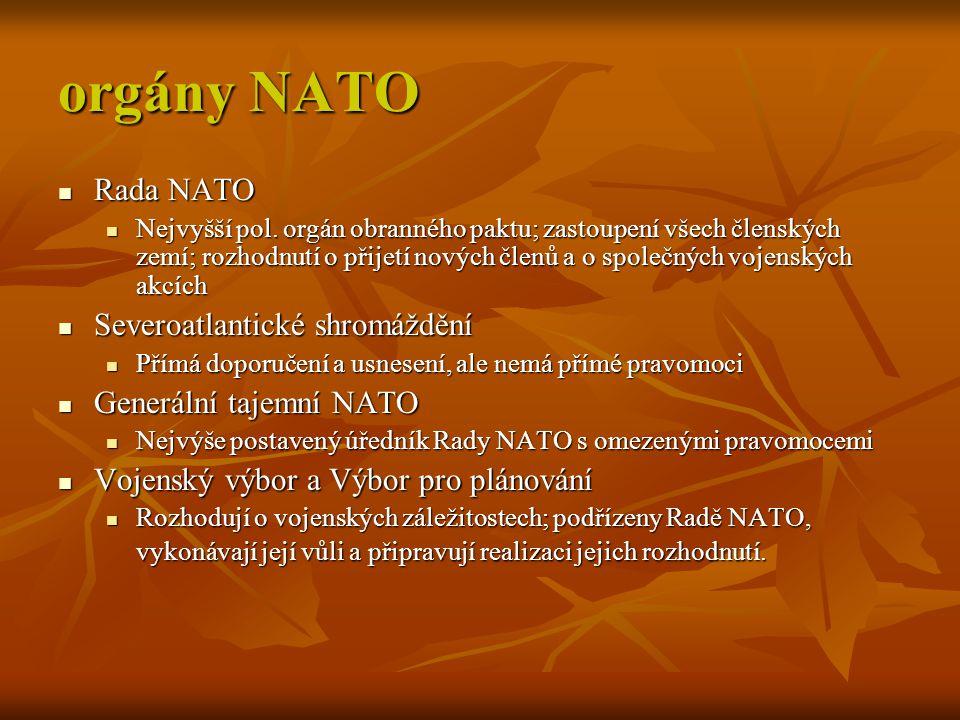 orgány NATO Rada NATO Severoatlantické shromáždění