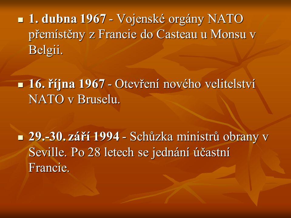 1. dubna 1967 - Vojenské orgány NATO přemístěny z Francie do Casteau u Monsu v Belgii.
